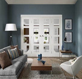 Folding Door System with White Doors