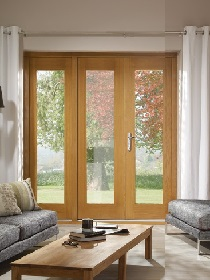 La Porte Oak French Doors with Single Si...