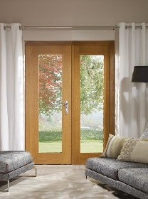 La Porte Oak French Doors Clear Double G...