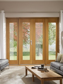 La Porte Oak French Doors with 2 Sidelig...