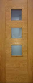 Oak 5 Panel - V Groove 3L - Obscure Glass Panels - Pre Finished - DF