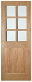 Oak Ely Glazed with Clear Bevelled Glass - Pre Finished - DE