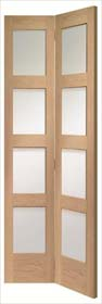 Oak Shaker Bi-Fold with Clear Glass - X