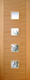 Oak Trend 4 Light with Clear Glass - Channel Groove - Pre Finished - DF