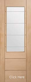 Oak Palermo Original 2XG with Clear Etched Glass - Unfinished - XL