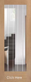 Oak Suffolk Original P10 with Clear Flat Etched Glass - Unfinished - XL