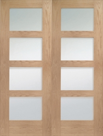 Oak Shaker Rebated Pair with Clear Glass - Unfinished - XL