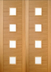 Oak Open Trend 4 Light - Obscure Glass Pairs - Channel Groove - Pre Finished  - NOT REBATED