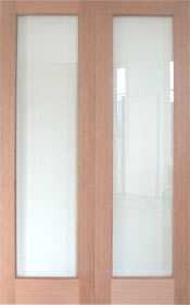 Oak Pattern 20 - Clear Bevelled Glass - Rebated - Unfinished (DF)
