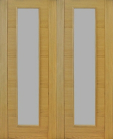 Oak Trend Style Pairs - Finished - Clear Diamond Cut Glass - Channel Groove (DF)