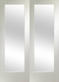 White Primed Pattern 10 Clear Glass Pair - Rebated - X