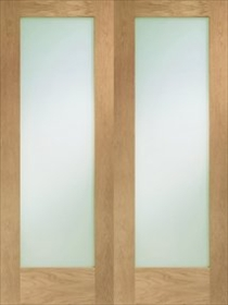 Oak Pattern 10 Rebated Pair with Clear Glass - Unfinished - X