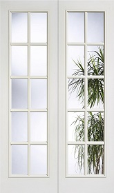 White Primed SA 10L Clear Glazed Rebated Pair - Grained - LP