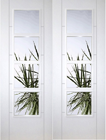 White Primed Trend 8 Light Rebated Pair with Clear Glass Panels - DF