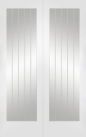 White Primed Suffolk Rebated Door Pair with Clear Etched Glass - X