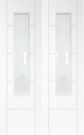 White Primed Trend 2L Rebated Pair with Obscure Glass - DF