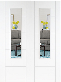 White Primed Trend 2L Rebated Pair with Clear Glass - DF