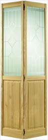 Clear Pine 2P/2L Bifold Door with Silksc...