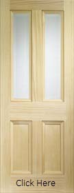 Pine Edwardian with Clear Bevelled Glass - Vertical Grain - XL