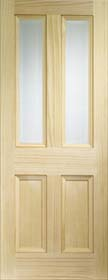 Pine Edwardian with Clear Bevelled Glass - Vertical Grain - X