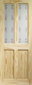 Knotty Pine Victorian with Bluebell Glass - X