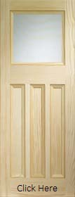 Vine DX 30's Style Door with Obscure Glass - Vertical Pine - X