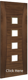 Walnut Pamplona - Clear Bevelled Glass - Prefinished - DE