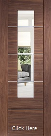 Walnut Portici - Clear Etched Glass and Aluminium Inlays - X