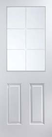 White Primed 6 Light - Etched Glass - Smooth Finish - Standard Core -  JW