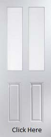 White Primed Arlington 2 Light Clear Glass - Smooth - JW