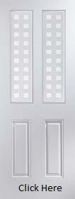 White Primed Arlington with Geometric Glass - Smooth - JW