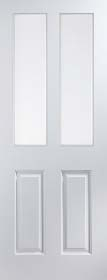 White 4 Panel 2 Light - Clear Glass - Smooth Finish -Standard Core - JW