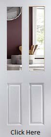 White Primed 2 Light Clear Glazed - Woodgrain - JW
