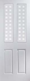 White Primed  Atherton 2 Light Geometric Glazed - JW