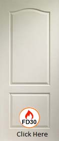White Primed Classical 2 Panel  FD30 - 44mm - Solid Core - LPD