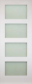 White Primed Coventry - Obscure Glass Panels - Solid Core - DE
