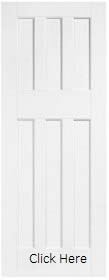 White Primed DX 60s Style Door - Solid C...