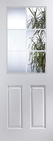 White Primed Atherton 6 with Clear Light Etched Glass  -  JW
