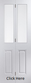 White Primed Arlington Bifold with Etched Glass - Smooth - JW