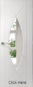 White Primed Pesaro with Clear Glass - Semi Solid - X