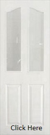 White 4 Panel Arched Top with Obscure Glass - Pre Finished - DF