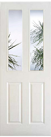 White 4 Panel - Grained - Clear Bevelled Edge Glass - Pre Finished - DF