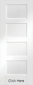 White Primed Shaker 4 Panel  - XL