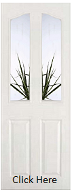 White 4 Panel Arched Top with Clear Edge Bevelled Glass - Pre Finished - DF