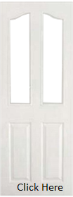 White Primed 4 Panel Arched Top - Unglazed  - Woodgrain - DFG
