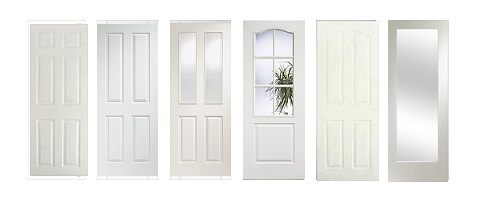 White Primed Traditional Doors with Woodgrain Finish