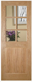 Oak Ely 6L with Clear Glass Panels - Unfinished - DE