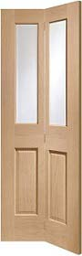 Oak Malton Bi-Fold with Clear Bevelled Glass - Unfinished - X