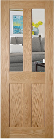 Oak Eton with Clear Flat Glass - Unfinished - DE