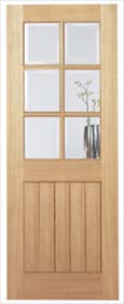Oak Mexicano 6 Light - Clear Bevelled Gl...